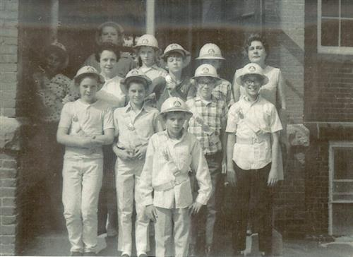Centennial Elementary Safety Patrol, 1967. Principal Euleta Bowden is shown at the far right, and Safety Patrol sponsor and 6