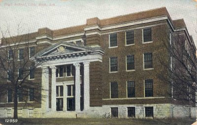Photo: Postcard of Little Rock High School. From LRSD archives.