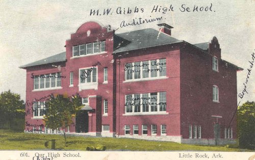 Postcard of M.W. Gibbs High School (date unknown). Individual rooms were labeled by sender. Top floor: auditorium. Second floor: senior class, library, junior class (my room). First floor: freshmen (1st division), freshmen (2nd division). Ground floor: sewing room, boys workshop.