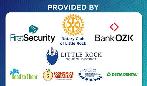 Sponsors First Security Rotary Club of LIttle Rock, Bank Ozark, read to them, economics arkansas clinton centert